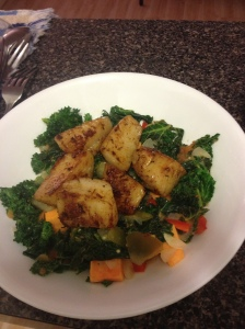 kale and scallops
